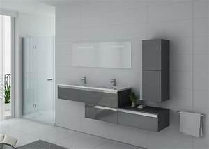 Meuble Rangement Salle De Bain But : meuble de salle de bain gris double vasque bellissimo gt ~ Dallasstarsshop.com Idées de Décoration
