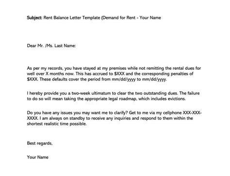 sample rent balance demand  rent letter email