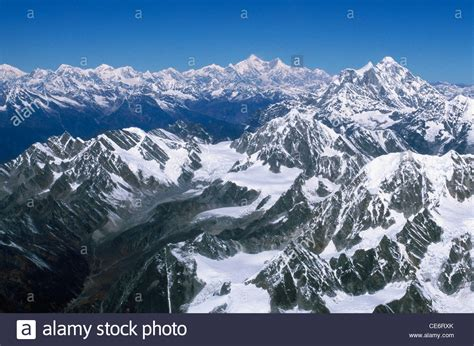 aerial view of mount everest himalayan snow covered mountain ranges stock photo royalty free