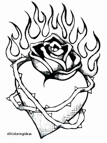 Coloring Fire Pages Dragon Wings Flames Heart