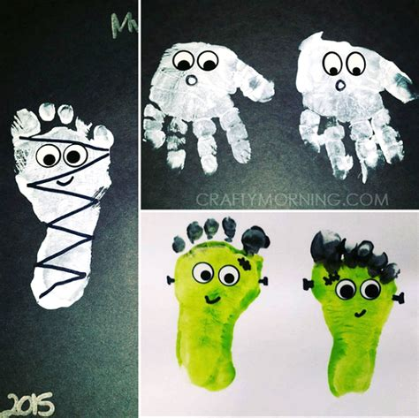 Adorable Handprintfootprint Halloween Crafts  Crafty Morning