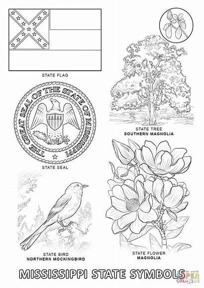 State Coloring Mississippi Symbols Pages Printable Alabama