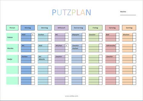 Putzplan Für Die Wohnung by Putzplan Vorlage F 252 R Singles Paare Familie Wg