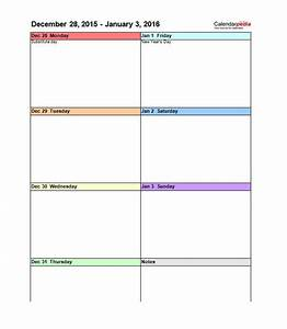 26 Blank Weekly Calendar Templates [PDF, Excel, Word] ᐅ ...