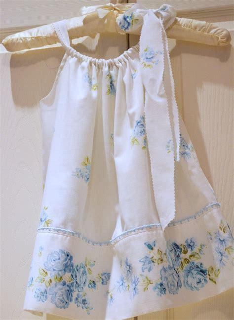 Toddler Shabby Chic Blue Floral Vintage Pillowcase Dress