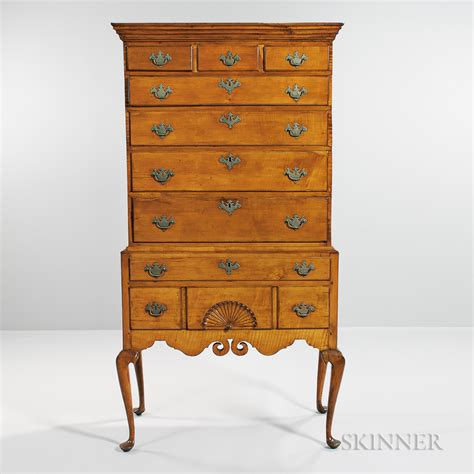 high chest of drawers carved maple and tiger maple high chest of drawers