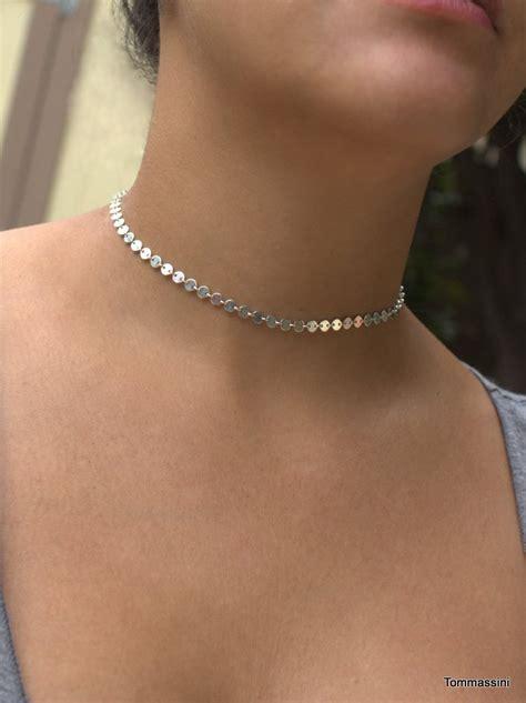 metallic choker statement choker silver choker necklace dainty choker