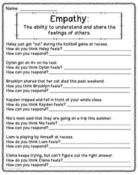 empathy worksheet freebie by counselorchelsey tpt