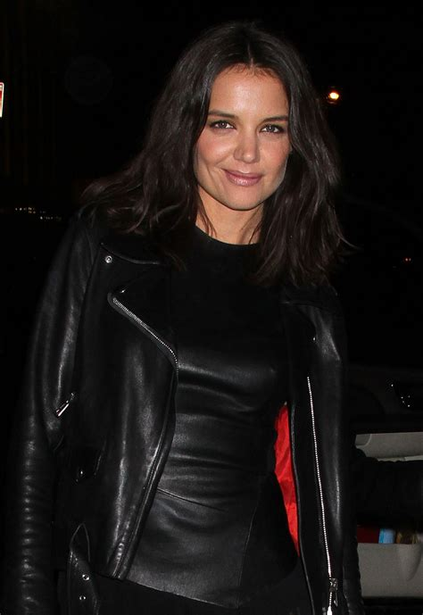 katie holmes leather outfit  donna karan  york