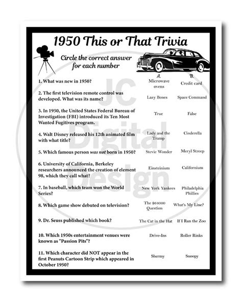 In this game, you will have questions along with images as well for music, you have ten questions to. 1950 Birthday Trivia Game 1950, Birthday Parties, Instant Download in 2020 | Trivia, Trivia ...