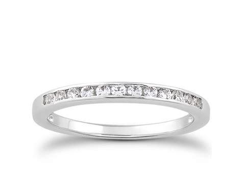 channel set diamond wedding ring band   white gold