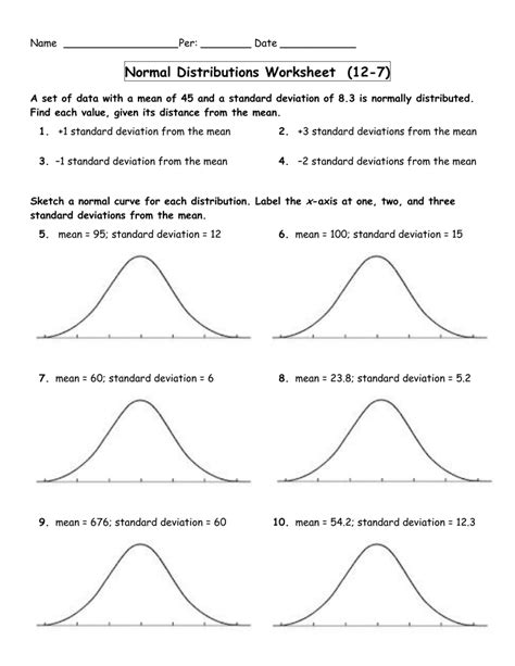 Normal Distribution Worksheet With Answers #8 Worksheet