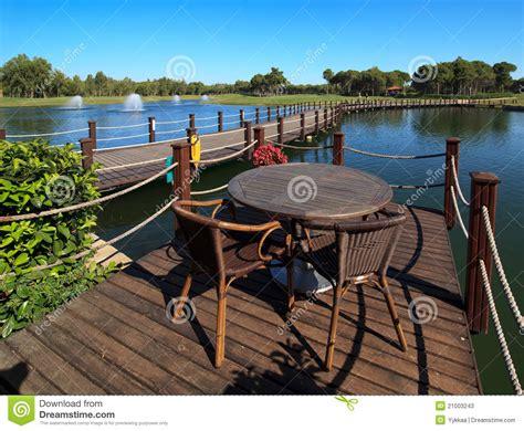 cafe   artificial pond stock  image