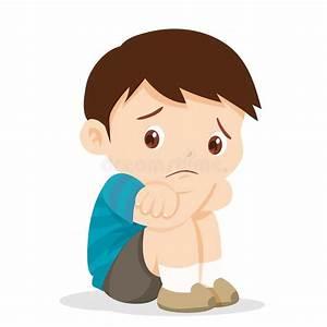 Sad boy sitting alone stock vector. Illustration of kids ...