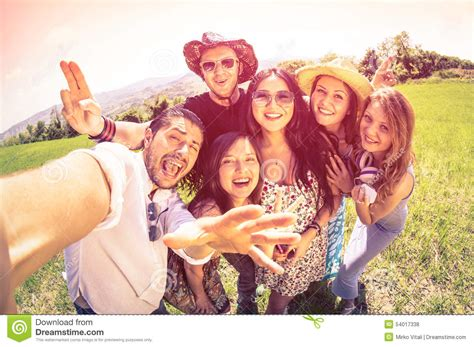 Best Friends Taking Selfie At Countryside Picnic Stock Photo  Image 54017338