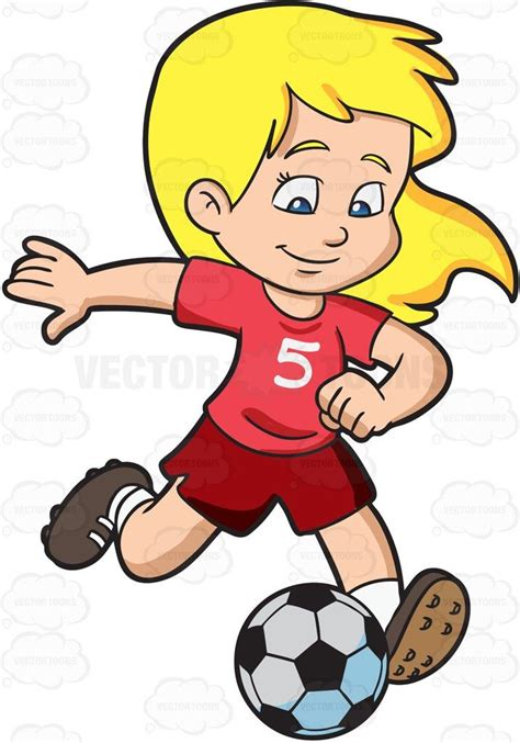Cartoon A Girl Kicking A Soccer Ball Vector Clip Art With