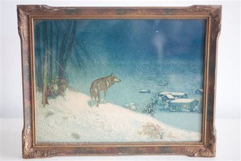 Vintage Art / Lone Wolf Antique Framed Print By Victor Antique Card Tables Ceiling Fan White Gold Frames Dining Room Flat File Motorcycle Swap Meets Large Vases Dresser Mirror