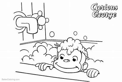 Coloring Curious George Pages Bath Take Printable