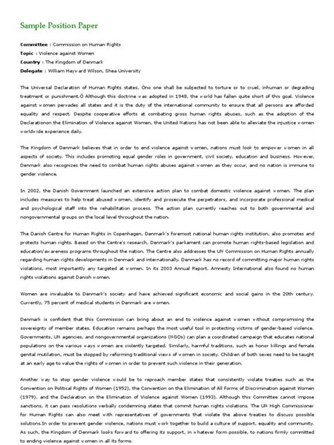 sample position paper violence  women human rights