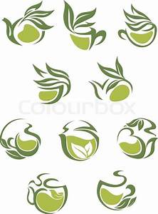 Green tea dish and cup icons set with leaves for beverages ...