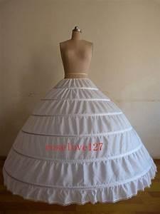 6 hoop white big petticoat wedding crinoline petticoat With wedding dress hoop skirt