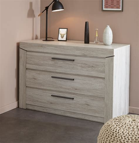 commode chambre adulte commode adulte contemporaine 3 tiroirs chêne gris julietta