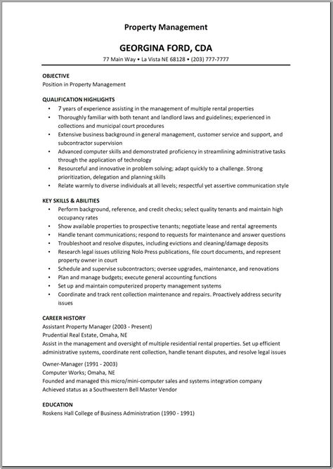 Exle Of Assistant Property Manager Resume by 10 Property Manager Resume Sle Exle Writing