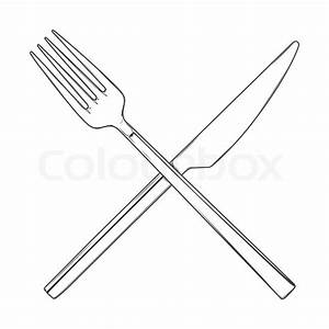 Crossed Fork and Knife isolated on a white background ...