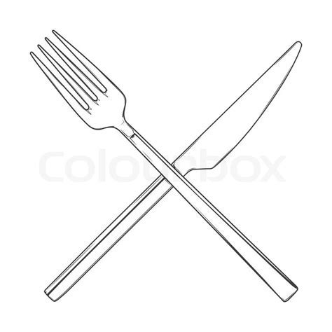 Crossed Fork and Knife isolated on a white background