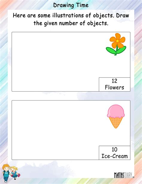 draw and color the asked number of objects mathsdiary