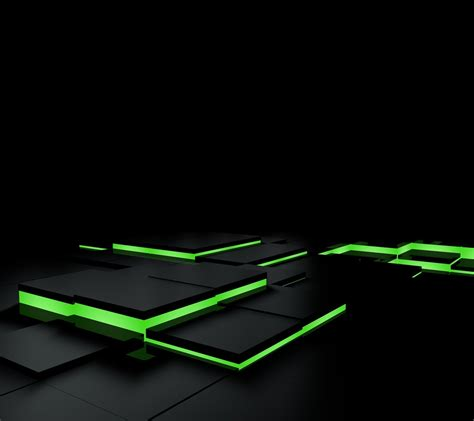 Green Colour 3d Wallpaper by Abstract Black Green 3d Blocks Square Tiles