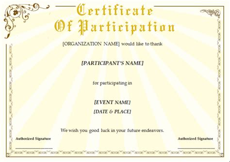 Ms Office Certificate Template by Completion Certificate Template