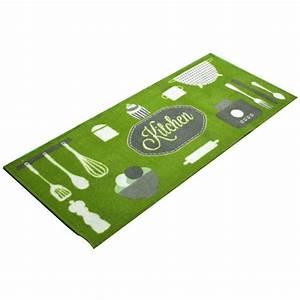 Tapis de cuisine antiderapant kitchen vert achat vente for Helline tapis de cuisine