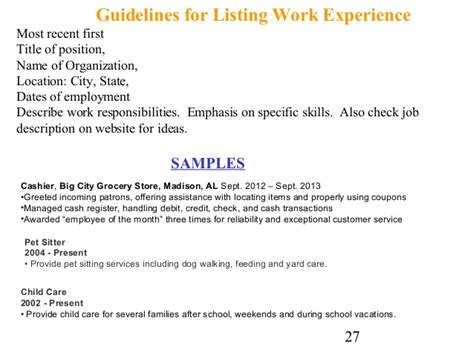 How To Describe Your Work Experience On A Resume by Cover Letter And Resume Writing For High School Students