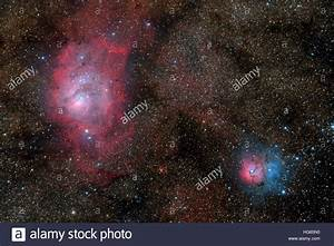The Lagoon Nebula and Trifid Nebula Stock Photo, Royalty ...