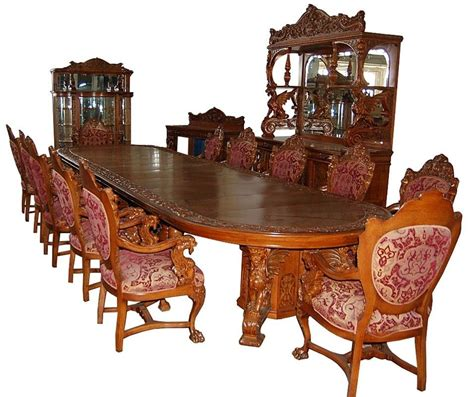 antique dining room sets for 16 pc heavily carved oak winged griffin dining set by r j 9022