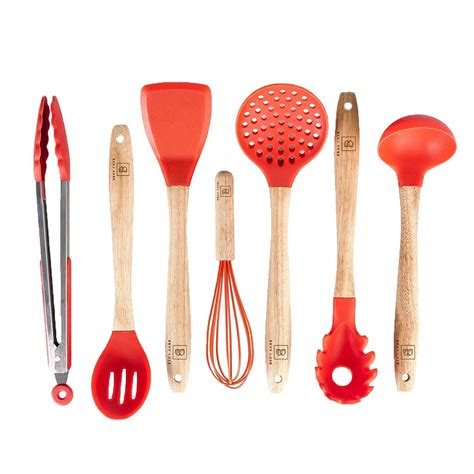 kitchen silicone wooden non stick accessories utensils cooking utensil tools piece gadgets sets handles bpa heat handle toxic eco resistant