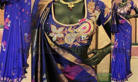 blue uppada silk designer blouse saree blouse patterns heavy work bridal blouse designs