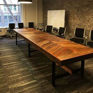 Hand Crafted Reclaimed Wood Chevron Conference Table by Urban Mining Company CustomMade com