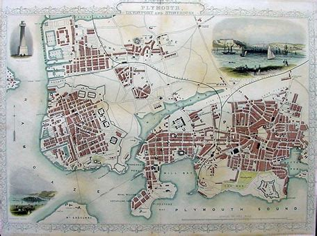 antique town plan plymouth john tallis