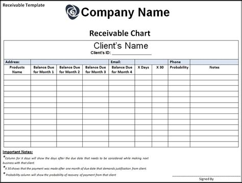 accounts receivable form receivable template free printable word templates
