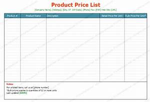 product price list template standard format With product price list template with pictures