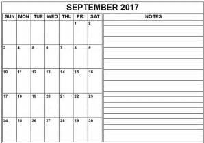 September 2017 Calendar Printable Template