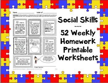 social skills weekly homework worksheets 365 activities speech asd pragmatic
