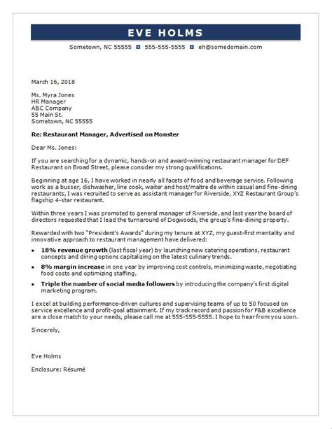 Entry Level Marketing Manager Cover Letter by Restaurant Manager Cover Letter Sle