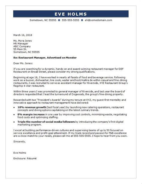 service promotion cover letter restaurant manager cover letter sle