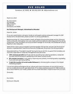 restaurant manager cover letter sample monstercom With restaurant promotion letter sample