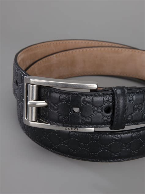 gucci monogram embossed belt  black  men lyst