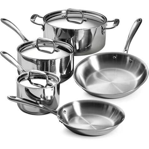 tramontina  piece  stainless steel tri ply clad cookware set ebay