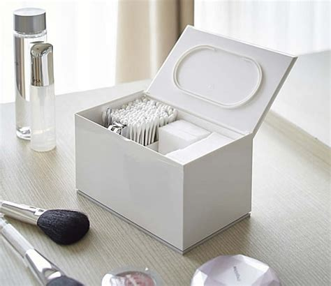 store cotton pad  bud lidded storage box
